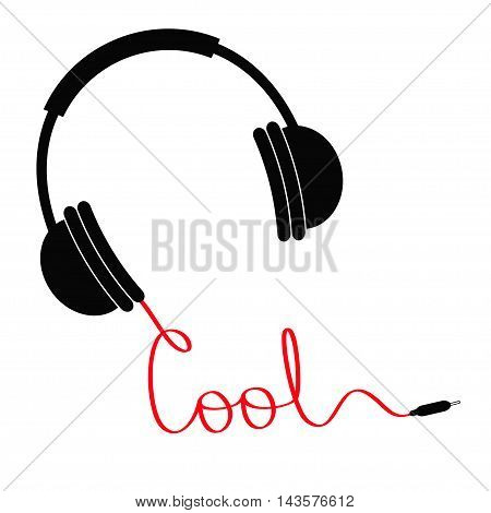 Black headphones with red cord in shape of word cool. Music card. Flat design.White background. Isolated Vector illustration