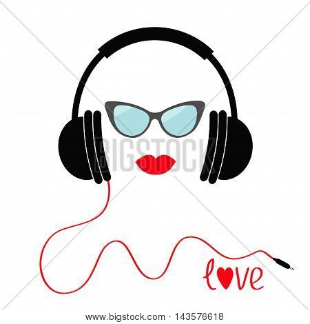 Headphones with red cord. Sunglasses and lips Love Music card. Flat design icon. White background Isolated Vector illustration