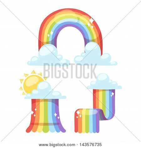 Rainbows in different shape realistic set on white background isolated vector illustration. Nature sign white cloud rainbow spectrum, summer graphic abstract symbol. Weather curve rainbow.