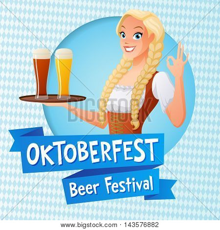 Oktoberfest card. Cute girl in national German outfit holding tray with glasses of light and dark beer and shows OK sign gesture. Cartoon style vector illustration.