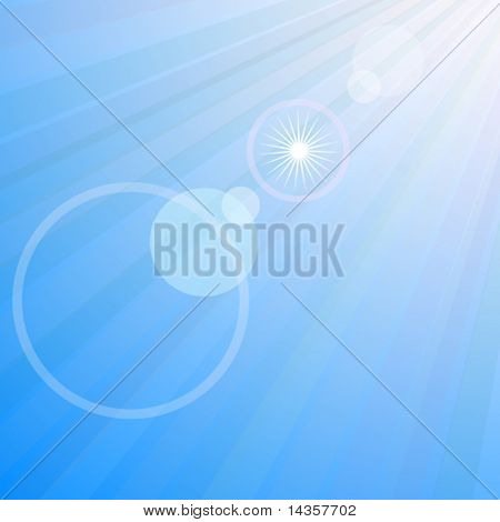 Flare in blue sky. Vector illustration.