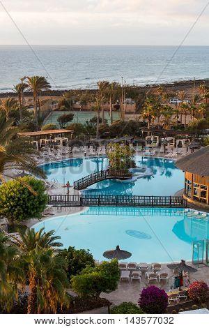 FUERTEVENTURA, SPAIN - SEPTEMBER 7, 2015: Swimming Pool in Caleta de Fuste on Fuerteventura . Canary Island. Spain