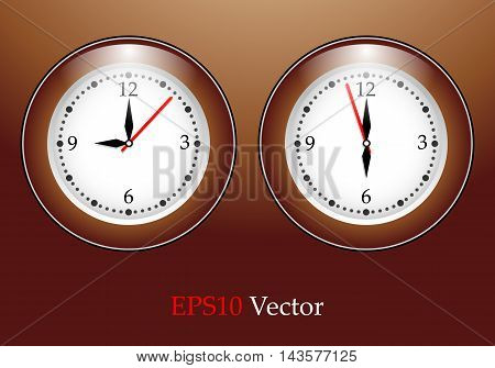 Vector simple classic  round wall clock. Elements for design. Eps10