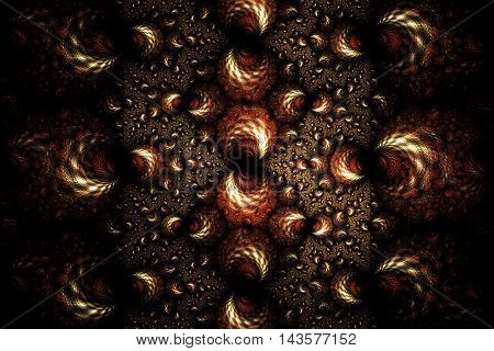Abstract fantasy ornament on black background. Symmetrical pattern. Computer-generated fractal in red beige and brown colors. 3D rendering.