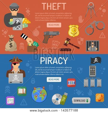 Piracy and Theft Horizontal Banners with flat icons Thief and Pirate. Vector illustration.