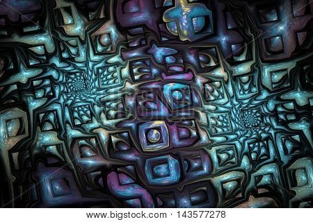 Abstract fantasy ornament on white background. Colorful fractal design in beige green and violet colors. 3D rendering.