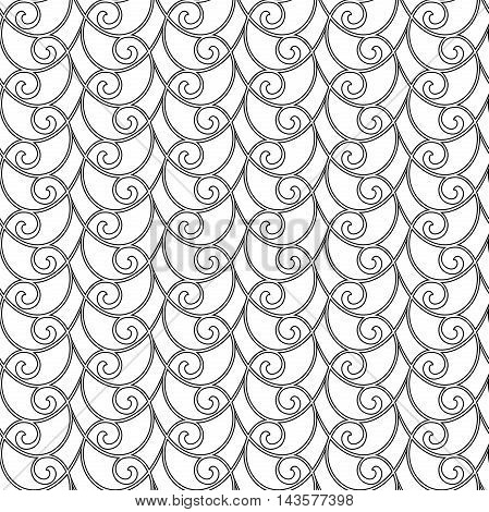 Seamless vector ornament. Modern geometric pattern with repeating black wavy elements