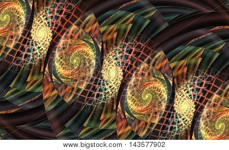 Stylized roses. Abstract fantasy ornament on black background. Computer-generated fractal in beige orange red dark green and black colors.