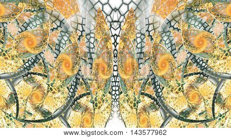Abstract fantasy mosaic ornament on white background. Symmetrical pattern. Creative fractal design in yellow orange and dark green colors.