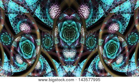 Abstract fantasy mosaic ornament on black background. Symmetrical pattern. Creative fractal design in turquoise and brown colors.