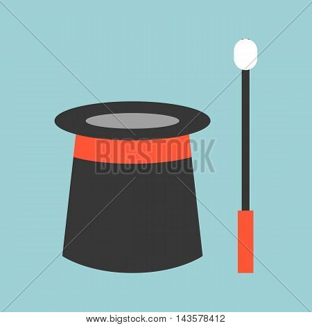 Vector magician equipment wand and hat, flat design