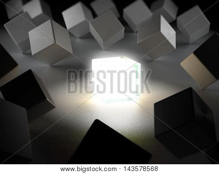 Box emitting light standing out among boxes. 3D illustration.
