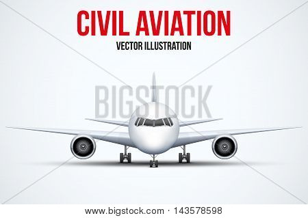 Front view of Civil Aircraft standing on the chassis. Public or private plane. For business and travel design. Vector Illustration isolated on background.
