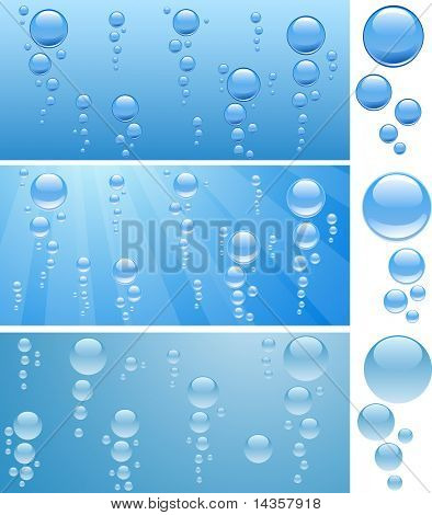 Three aquariums with bubbles. Vector illustration.