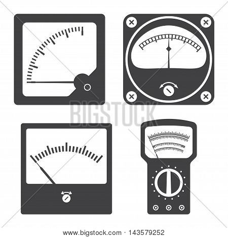 Icons of electrical measuring instruments. Vector illustration