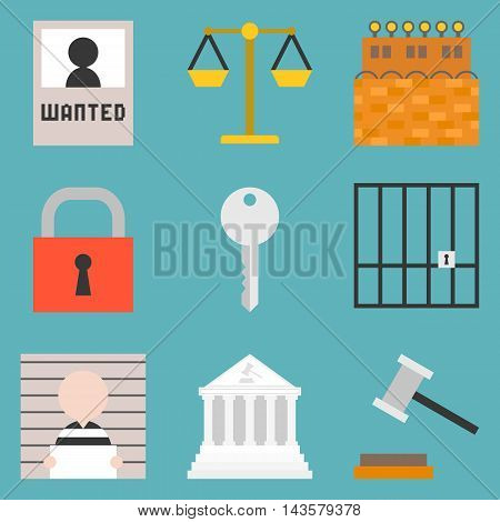 Vector justice icons set, flat design on blue background