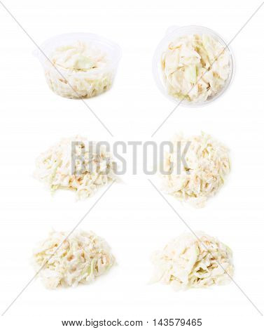 Pile of creamy coleslaw salad isolated over the white background, set of six different foreshortenings