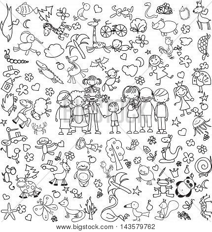 Vector set of children's doodle of happy family
