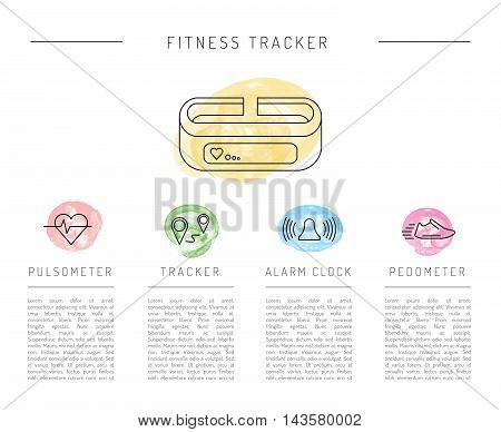 Wearable electronics gadget fitness or activity tracker bracelet that reads the state of the body during daily life and sports activities in the gym or outdoors. Set icons performed in a linear style