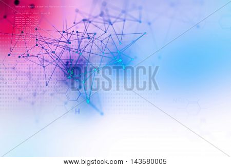Blue Geometric  Shape Abstract Technology Background
