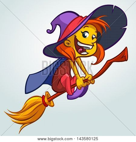 Cute witch flying on her broom. Vector Halloween illustration of witch isolated on white background.