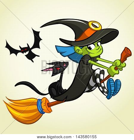 A vector illustration of cartoon girl dressed in a witch costume for Halloween and riding a broomstick