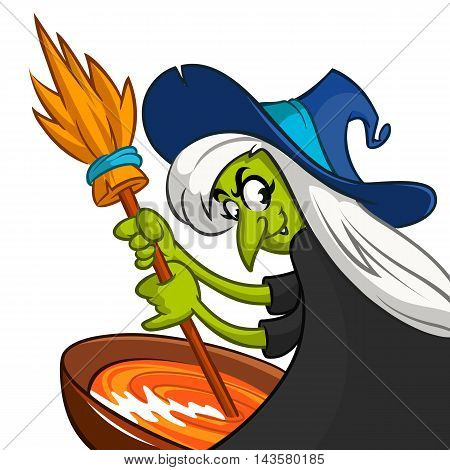 Ugly Halloween Witch Preparing A Potion. Vector illustration of a cartoon witch stirring her spooky brew isolated