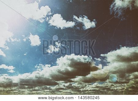 Blue sky with sun and clouds abstract background with copy space