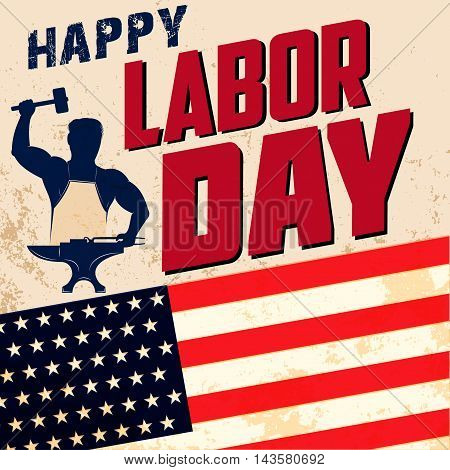 Happy labor day card template. Flag of USA on grunge background. Vector illustration.