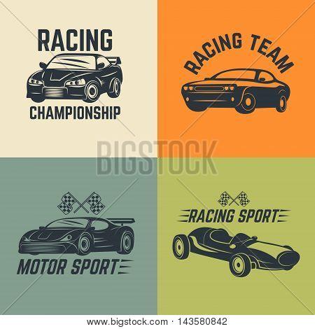 Set of car icons. Motor sport car racing. Vector illustration.