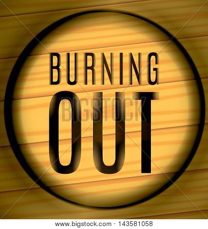 Burning Out Text On A Wood In The Ring