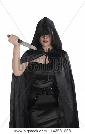 Halloween Witch Woman Holding Knife