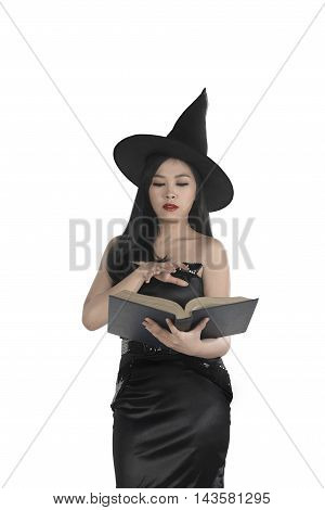 Young Asian Wizard Woman Holding Spell Book