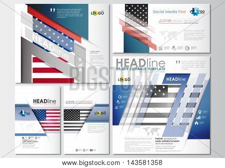 Social media posts set. Business templates. Cover design template, easy editable, abstract flat layouts in popular formats. Patriot Day background with american flag, vector illustration.
