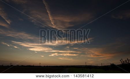Beautiful cloudscape dusk outdoors nature horizon photography