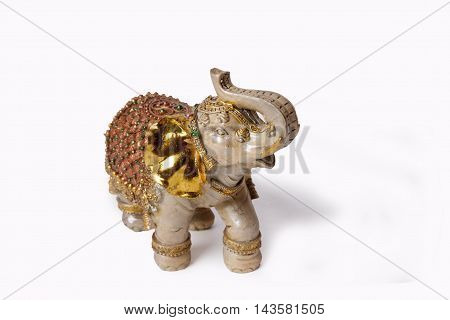 Elephant figurine from onyx on a white background