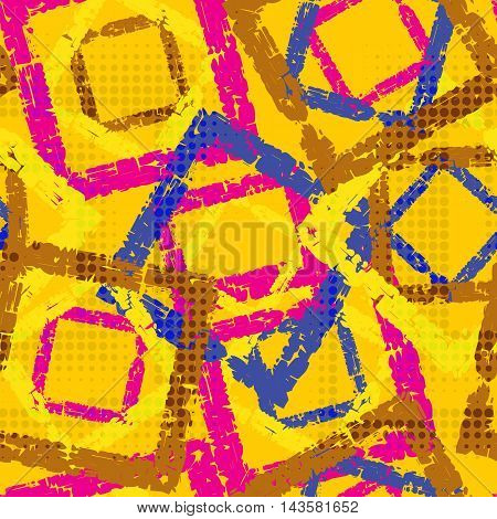 Abstract grunge seamless chaotic pattern with square frames blots drops and splashes. Trendy colorful texture background. Modern wallpaper. Fashionable print.