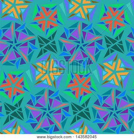Geometric abstract seamless pattern of triangles. Can be used in textiles design. Vector Geometric background.