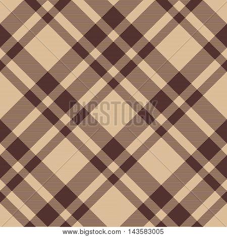 Beige brown diagonal check plaid seamless pattern. Vector illustration. EPS10.