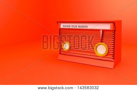 good old day red radio 3d render
