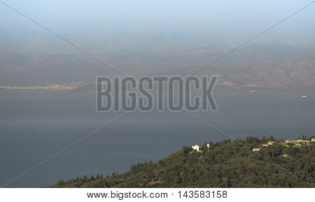 Greek landscape Corfu sea Epirus Igumenitsa background