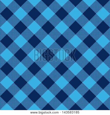 Blue check diagonal textile seamless pattern. Vector illustration.