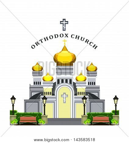 vector illustration on a white background Orthodox church with gold domes