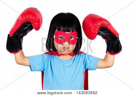 Asian Little Chinese Girl Wearing Super Hero Costume With Boxing Gloves