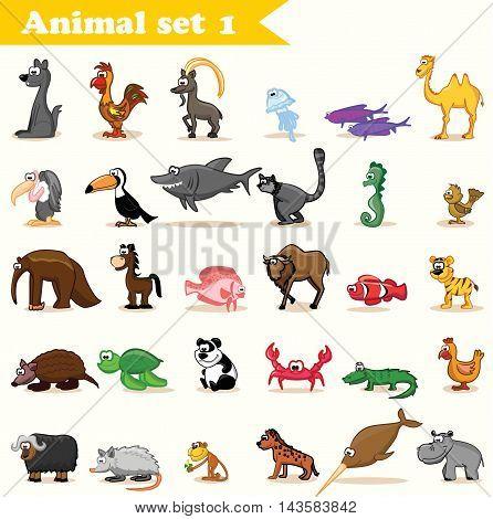 Vector Set with 30 cute cartoon animals