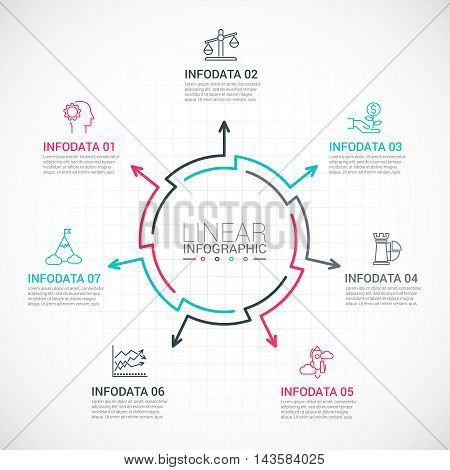 Thin line flat elements for infographic. Template for diagram, graph, presentation and chart. Business concept with 7 options, parts, steps or processes. Data visualization.
