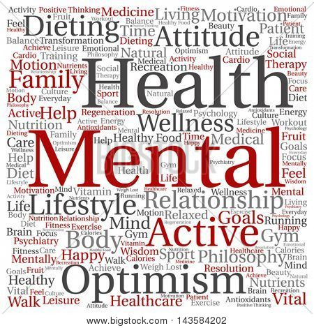 Vector concept or conceptual mental health or positive thinking square word cloud isolated on background, metaphor to optimism, psychology, mind, healthcare, thinking, attitude, balance or motivation