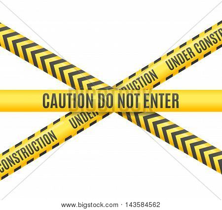 Under Construction Line Cross Isolated on White Background. Vector illustration
