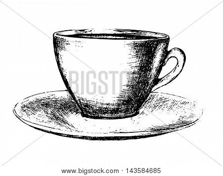 Hand drawn coffee cup on white background. Black and white cup with saucer. Coffee or tea.