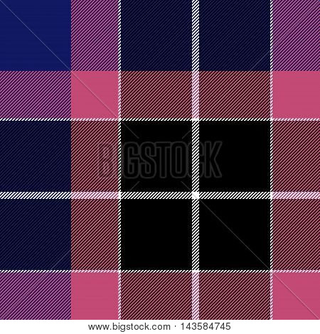 Pink blue check plaid seamless pattern. Vector illustration. EPS10.